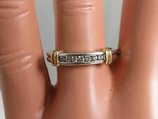 Unique 14K Gold Diamond Band Size 7 est 0.14ct Stacking Ring