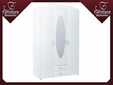 Large 3 Door Wardrobe with Stylish Oblong Mirror - SZ02 - New - White