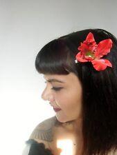 Pince clip cheveux fleur orchidée rouge coiffure pin-up rétro rockabilly