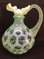 Fenton Art Glass Green Opalescent Coin Dot Pitcher