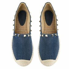 Womens Ladies Flat Slip On Summer Espadrille Shoes Stud Casual Holiday Pumps