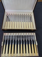 "CHRISTOFLE Complete Art Deco DESSERT 6"" Set for 12 people Stainless Steel RARE"
