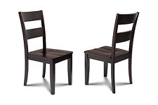 SET OF 4 KITCHEN DINING SIDE CHAIR W/. WOODEN SEAT IN CAPPUCCINO FINISH