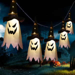 Halloween Glowing Hanging Lanterns Wizard Hat Lamp Ghost Lights Party Decor