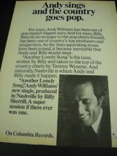 Andy Williams sings and the country goes pop. Original 1974 Promo Poster Ad