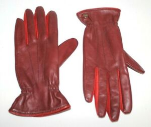 UGG Australia Women Leather Wool Lining Gloves Burgundy Red L