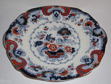William Ridgway  ANTIQUE IRONSTONE FLOW BLUE Handled PLATE 10 1/2""