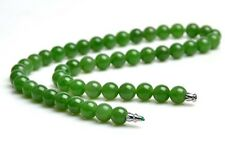 "18"" A Grade Natural Green Nephrite Jade Beads Necklace, w/ Certificate"