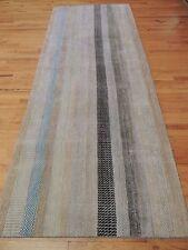 Modern Design Striped Runner Oriental Area Rug 4x10 Neutral Beige/gray/blue