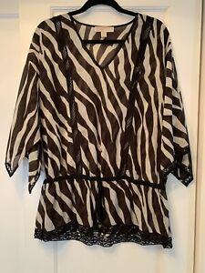 NWOT MICHAEL Michael Kors Zebra Print Tunic Top Large