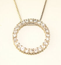 """STERLING SILVER 7/8 INCH CZ CIRCLE PENDANT ON 18"""" STERLING BOX CHAIN NECKLACE"""