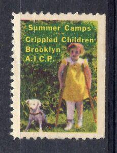 "USA = CINDERELLA - ""Summer Camps, Crippled Children. Brooklyn"" Unused No Gum (b)"