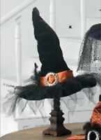 "RAZ Imports 20.5"" Witch Hat Table Top Black with Orange Trim Halloween NEW!"