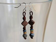 Picasso Leather Earrings Handmade Knotted Dangling Earrings 1.75'' long Yevga