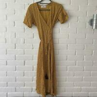 Faithfull The Brand BNWOT Lelia Yellow Brown Red Ditzy Wrap Dress Small Uk 8/10