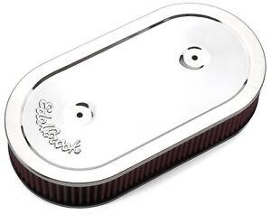 Edelbrock 1236 Pro-Flo Chrome Oval Air Cleaner Single 4 bbl Carb Washable Filter