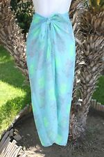 TURQUOISE GREEN OWL STENCIL PRINT SHEER SARONG COVERUP SHAWL SCARF DRESS WRAP