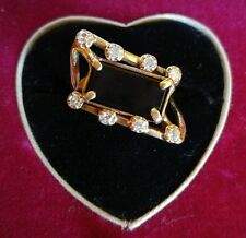 OOAK 14K GOLD DIAMOND & Rectangle ONYX Avante Garde Artisan Signed RING sz 6