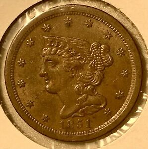 1851 Half Cent 1/2C old US braided hair coin type AU Rare Low Mintage