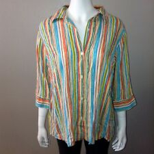 Koret Button Down Linen Shirt Size 16W Womens Striped Blouse 3/4 Sleeve Top