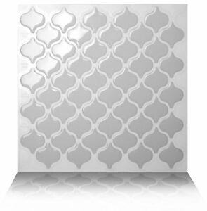 Tic Tac Tiles_3D Peel and Stick Wall Tile_Damask Grigio (5 sheets x 25cm x 25cm)