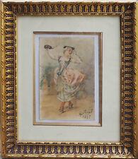 Tableau Aquarelle Jeune femme Le Bal masqué signée A. Cottinet - 1937 + cadre