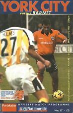 Football Programme - York City v Barnet - Div 3 - 2000