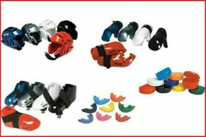 Martial Arts Sparring Gear Set Head Foot Hand Pads Mouth + Case for Children New