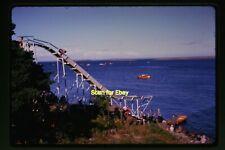 Man on Ocean Water Slide & Boats in France in 1960's, Original Slide aa 4-9a
