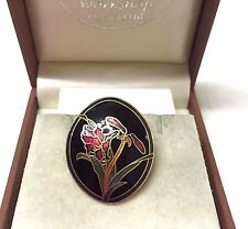 Vintage Signed Fish & Crown Cloisonne Oval  Flower Brooch Pin