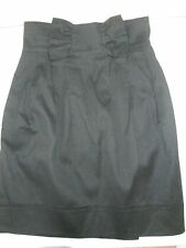 FRENCH CONNECTION BLACK SKIRT RRP£60 UK 8 BOW TULIP HIGH WAISTED COTTON SILK