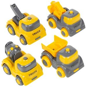 4 Pcs Kids Lorry Yellow Construction Vehicle Building Site Toy Play Truck Set
