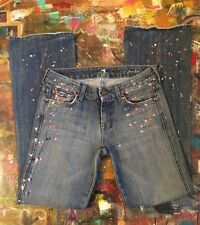 Seven 7 For All Mankind A-Pocket Bootcut Paint Splatter Jeans 26