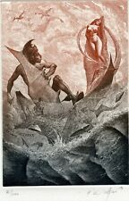 """""""Perseus and Andromeda"""" Nude, Mythology Ex libris Etching by Peter Velikov"""