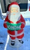 "Vintage Ho Ho Ho Santa 40"" Lighted Yard Out Door Blow Mold Plastic"