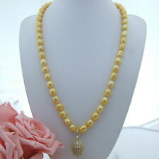 AB072903 27'' 10x12MM Yellow Rice Pearl Necklace CZ Pendant