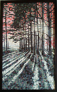 Autumn forest landscape mosaic art Roman ceramic trees light nature fineart red