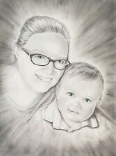 """18x24"""" Custom Pencil Portraits from Your Photo (2 Heads)"""