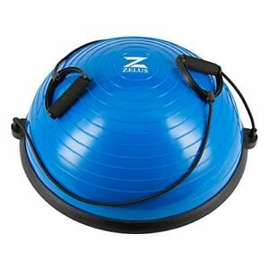 Z ZELUS Balance Ball Trainer Half Yoga Exercise Ball with Resistance Bands an...