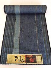 """VINTAGE Kimono giapponese blu lana tessuto, venduto dalla metro, 37CM 14.5"""" (AA1497)"""