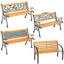 Banc banquette mobilier meuble de jardin parc terrasse en bois et fonte neuf