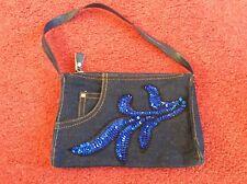 Women's blue denim jeans style small purse handbag from Miss Selfridge sequinned