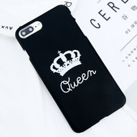King & Queen Couple Crown Black Phone Case Cover For iPhone X 8 7 6S Plus 5S