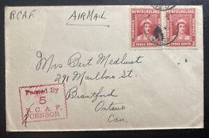 1944 RCAF Newfoundland CAPO 5 Airmail Censored Cover To Brantford Canada
