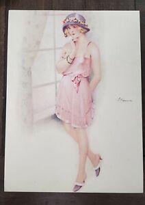 "SUZANNE MEUNIER Resque Nude Orig 8""x10"" lithograph in color c1900 Art Deco *129J"