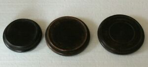 three old wooden oriental circular stands