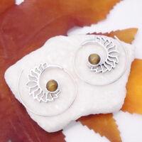 Tigerauge gold braun rund Hippie Design Spirale Ohrringe 925 Sterling Silber neu