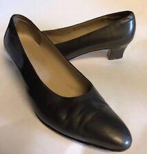 SALVATORE FERRAGAMO Womens Gunmetal Gay Leather Block Heel pumps Shoes Size 11AA