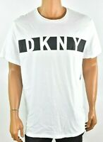 DKNY Mens White T-Shirt New M L XL XXL Crew Neck Short Sleeves Logo Graphic Tee
