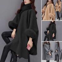 Womens Winter Warm Wool Cape Coat Flare Sleeve Faux Fur Collar Poncho Cloak Tops